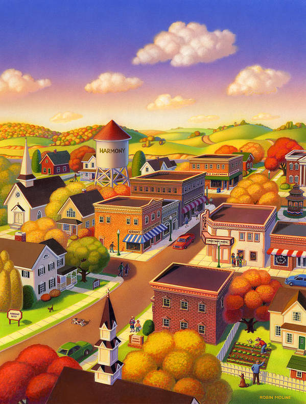 Americana Poster featuring the painting Harmony Town by Robin Moline