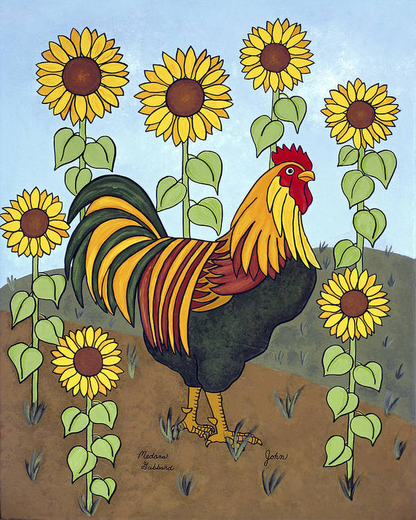 Rooster Poster featuring the painting John by Medana Gabbard