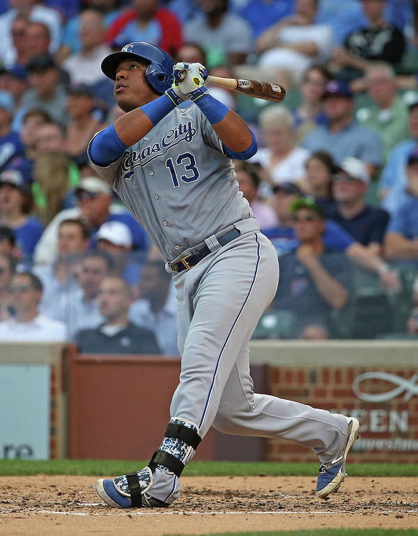 Salvador Perez Diaz Poster featuring the photograph Kansas City Royals V Chicago Cubs by Jonathan Daniel
