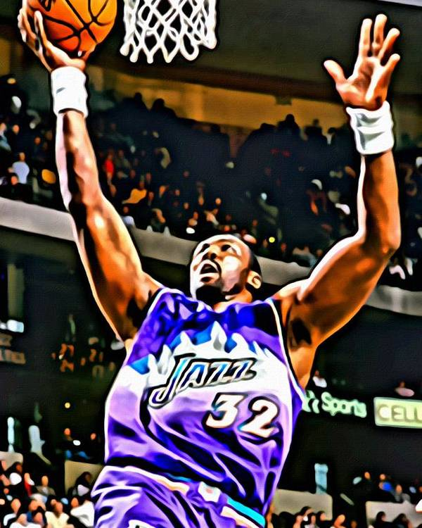 Karl Malone Poster featuring the painting Karl Malone by Florian Rodarte