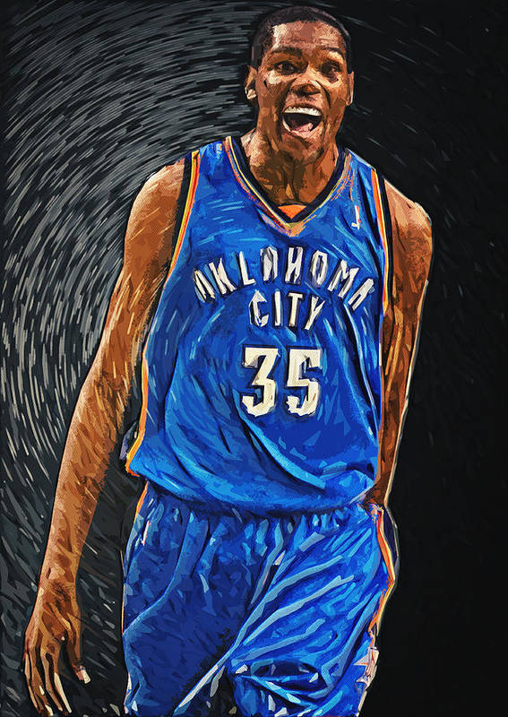 Kevin Durant Poster featuring the digital art Kevin Durant by Taylan Apukovska