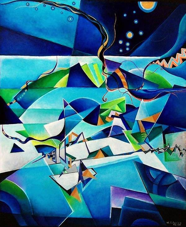 Landscpae Abstract Acrylic Wood Pens Poster featuring the painting Landscape by Wolfgang Schweizer