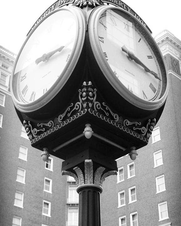Kelly Hazel Poster featuring the photograph Liberty Mutual Clock by Kelly Hazel