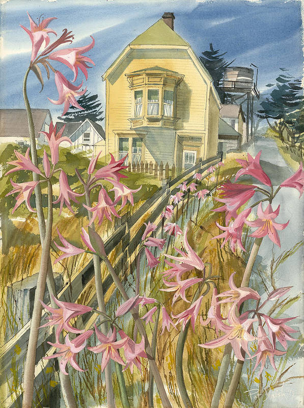 Mendocino Poster featuring the painting Lillies Of Mendocino by Pat Irish Amez