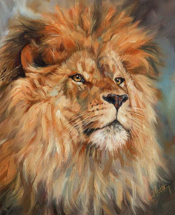 Lion Poster featuring the painting Lion by David Stribbling