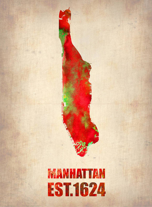 Manhattan Poster featuring the painting Manhattan Watercolor Map by Naxart Studio