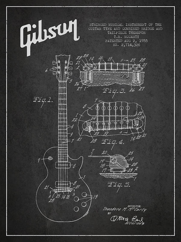 Gibson poster featuring the digital art mccarty gibson les paul guitar patent drawing from 1955