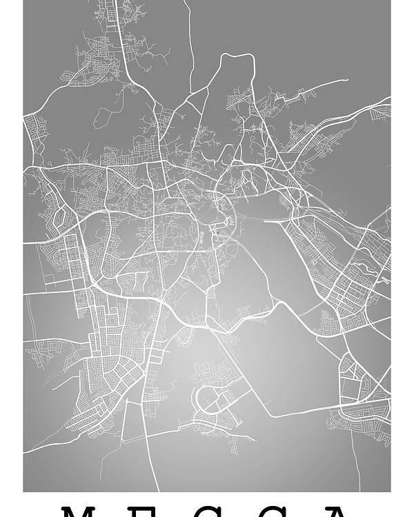 Mecca Street Map - Mecca Saudi Arabia Road Map Art On Color Poster on masjid al-haram, aden map, red sea map, arabian peninsula map, saudi arabia, jerusalem map, mesopotamia map, mediterranean sea map, damascus on map, arabian peninsula, japan map, saudi arabia map, medina map, black stone, world map, middle east map, dome of the rock, strait of hormuz map, baghdad map, iraq map, sinai peninsula map, india map, israel map, makkah map, persian gulf map,