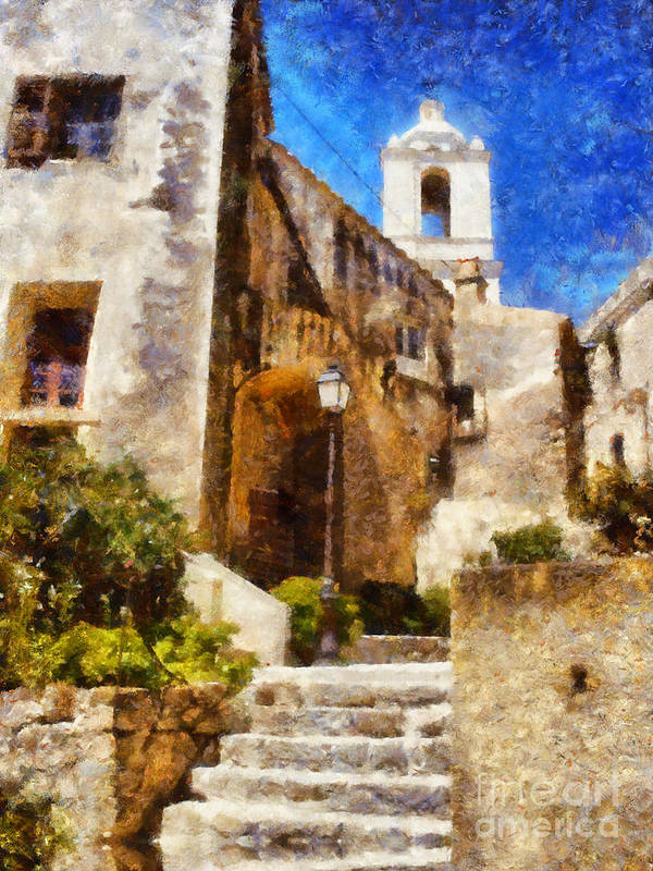 Church Poster featuring the painting Mediterranean Steps by Pixel Chimp