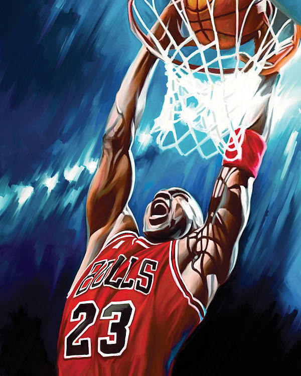 Nba Poster featuring the painting Michael Jordan Artwork by Sheraz A