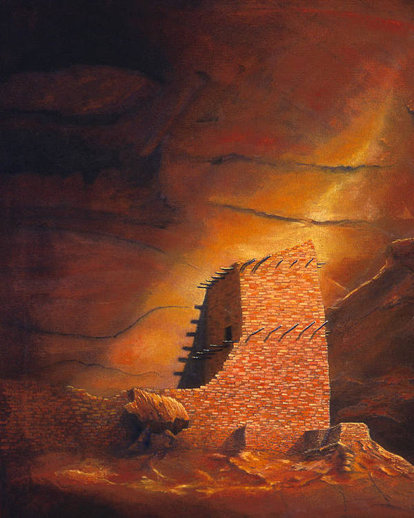 Mummy Cave Ruins Poster featuring the painting Mummy Cave Ruins by Jerry McElroy