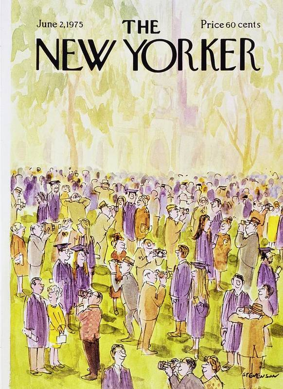 Illustration Poster featuring the painting New Yorker June 2nd 1975 by James Stevenson