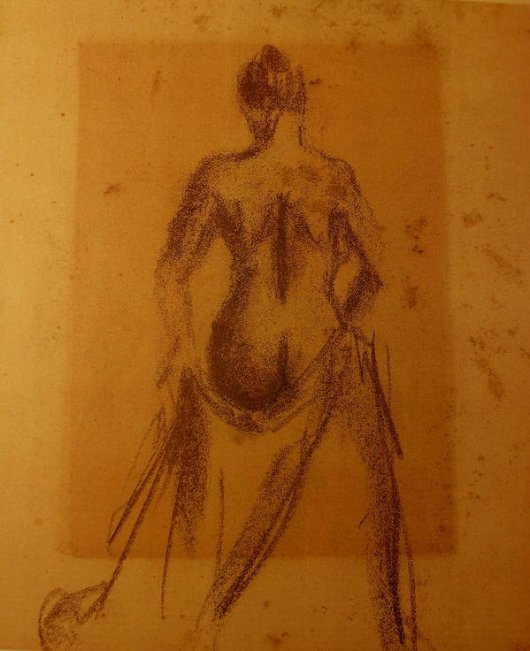 Study Live Model Poster featuring the drawing Nude Study by Rafael Lima