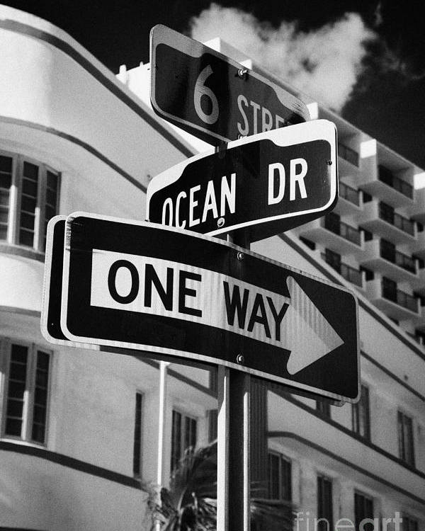 Ocean Poster featuring the photograph Ocean Drive And 6th Street In The Art Deco District Of Miami South Beach Florida Usa by Joe Fox