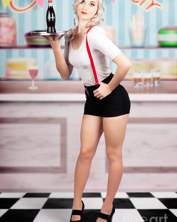 Pinup Woman Serving Drinks At Vintage Candy Bar Poster