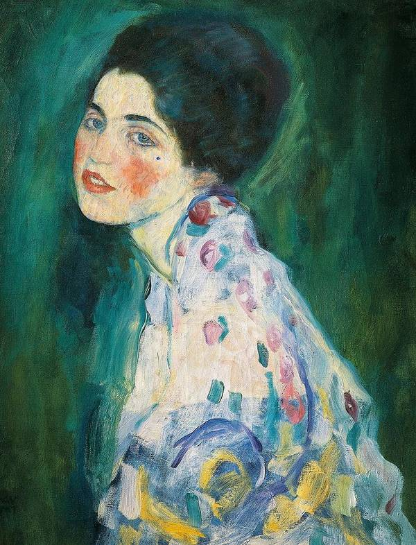 Female Poster featuring the painting Portrait Of A Young Woman by Gustav Klimt