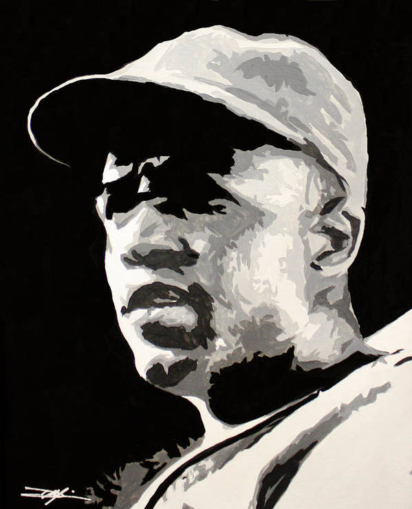 Jackie Robinson Poster featuring the drawing Robinson 42 by Don Medina