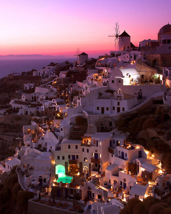 Oia Poster featuring the photograph Santorini Sunset by Ollie Taylor