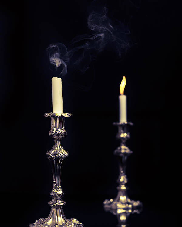 Lit Poster featuring the photograph Smoking Candle by Amanda Elwell