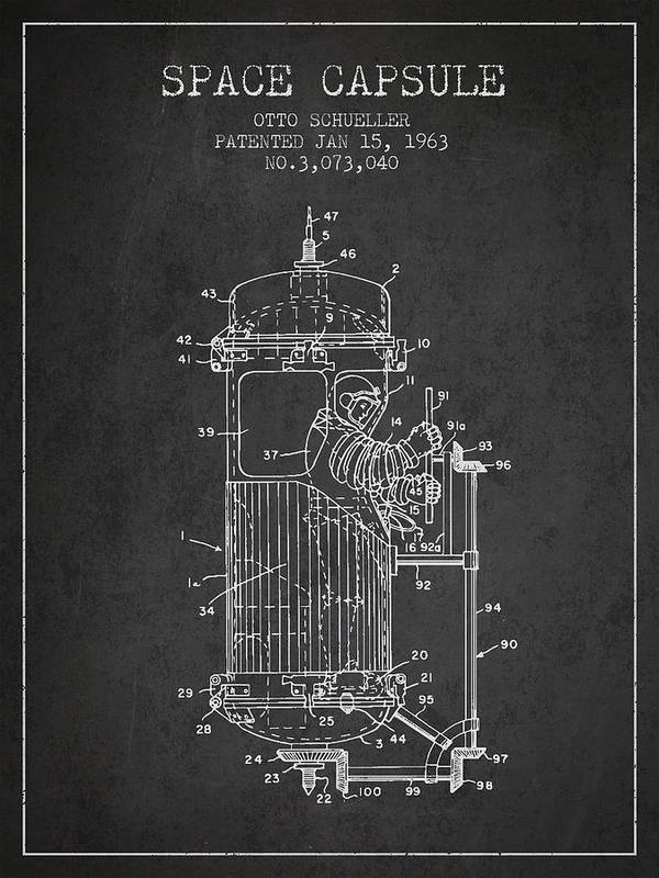 Space Capsule Poster featuring the digital art Space Capsule Patent From 1963 by Aged Pixel