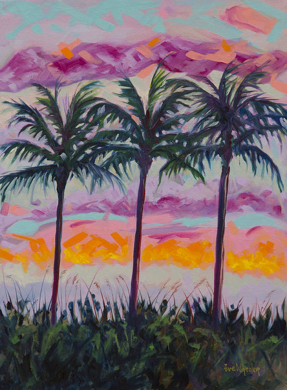 Eve Wheeler Poster featuring the painting Sunset Trio by Eve Wheeler