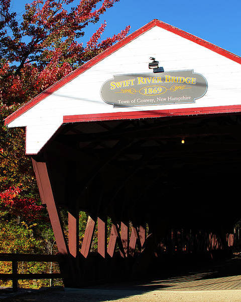 Autumn Foliage New England Poster featuring the photograph Swift River Covered Bridge by Jeff Folger