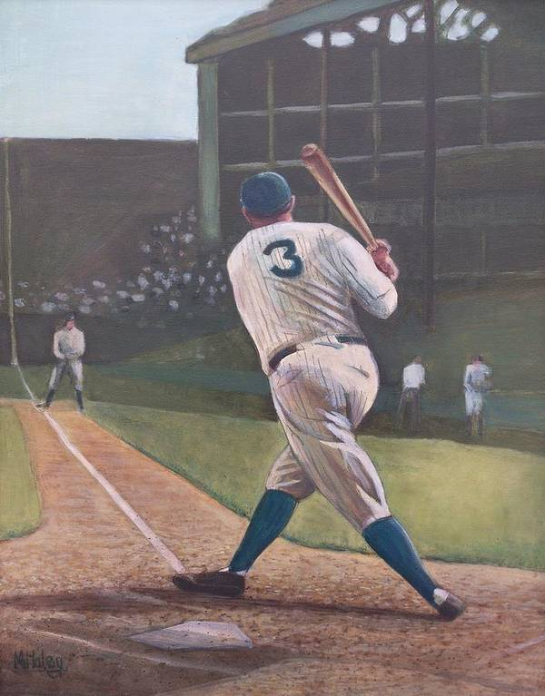Bambino Poster featuring the painting The Babe Sends One Out by Mark Haley