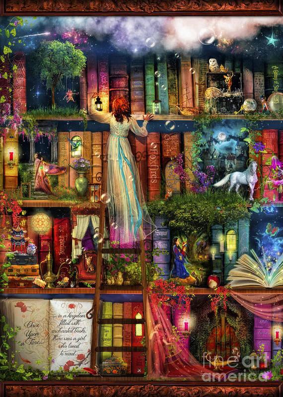 Aimee Stewart Poster featuring the digital art Treasure Hunt Book Shelf by Aimee Stewart
