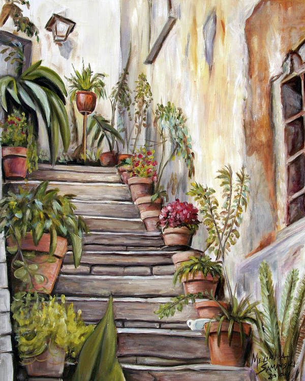 Tuscany Poster featuring the painting Tuscan Steps by Melinda Saminski