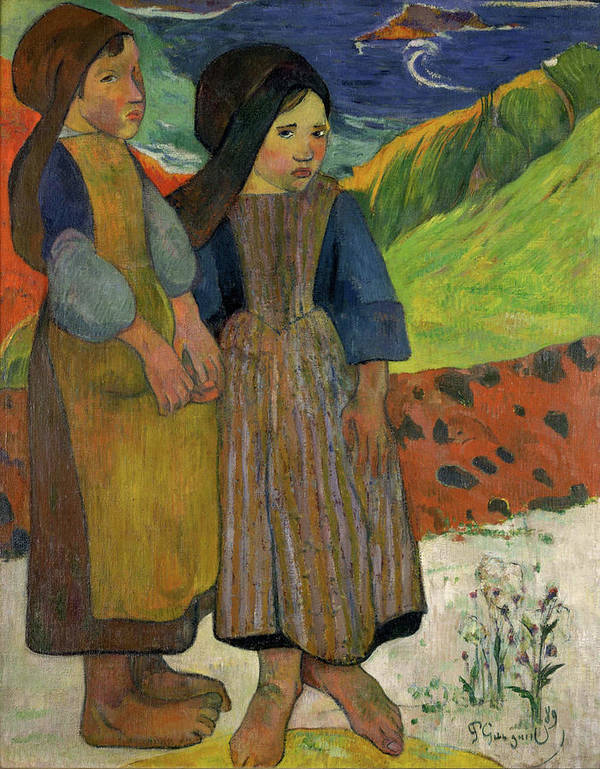 Paul Gauguin Poster featuring the painting Two Breton Girls By The Sea by Paul Gauguin