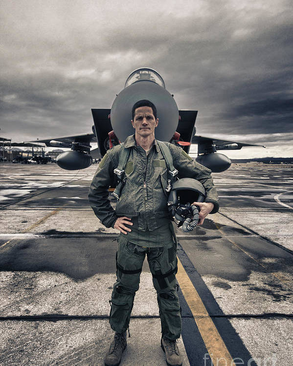 Vertical Poster featuring the photograph U.s. Air Force Pilot Standing In Front by Terry Moore