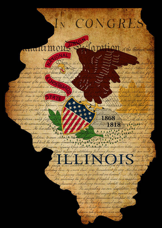 Usa Poster featuring the photograph Usa American Illinois State Map Outline With Grunge Effect Flag by Matthew Gibson