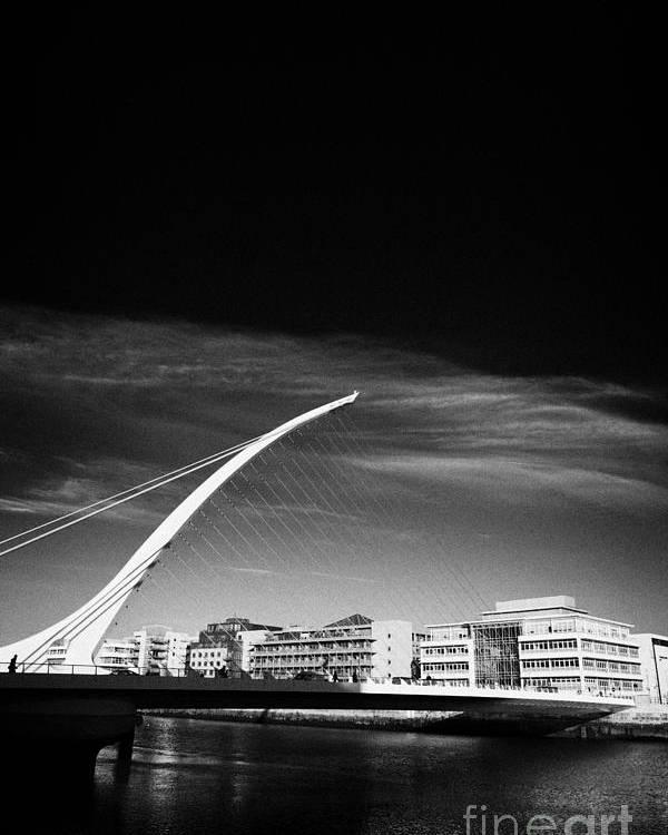 View Poster featuring the photograph View Of The Samuel Beckett Bridge Over The River Liffey Dublin Republic Of Ireland by Joe Fox