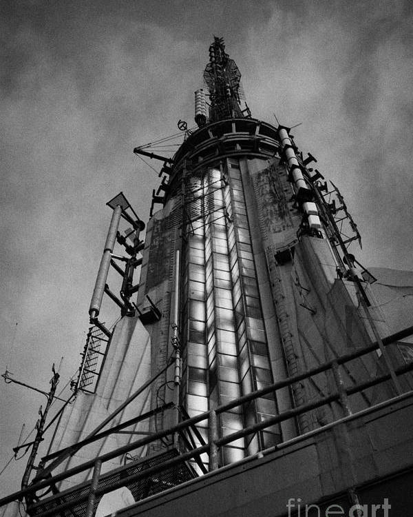Usa Poster featuring the photograph View Of The Top Of The Empire State Building Radio Mast New York City by Joe Fox