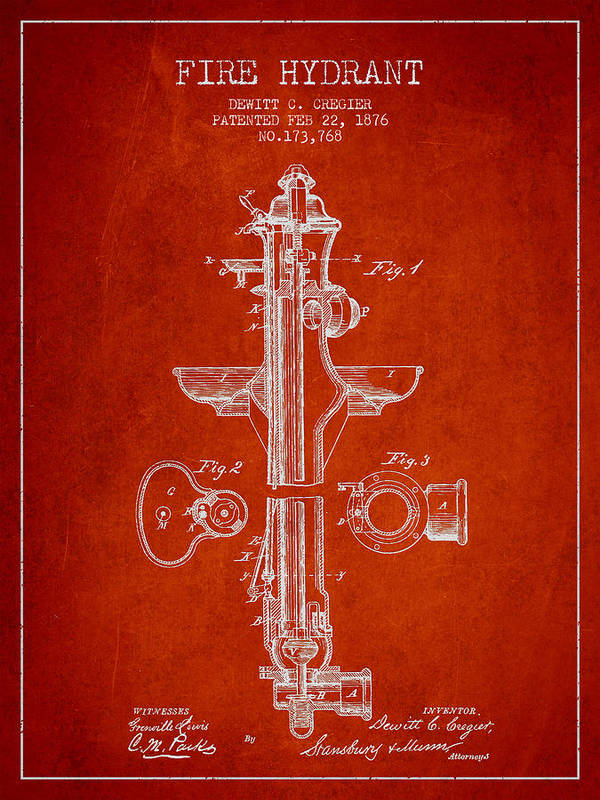 Fire Hydrant Poster featuring the digital art Vintage Fire Hydrant Patent From 1876 by Aged Pixel