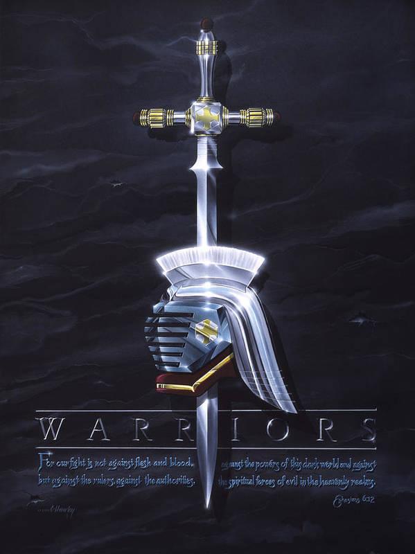 Warriormenboysswordhelmetscripturefightchristianspiritualwarfaredarkwarriors Poster featuring the painting Warriors by Cliff Hawley