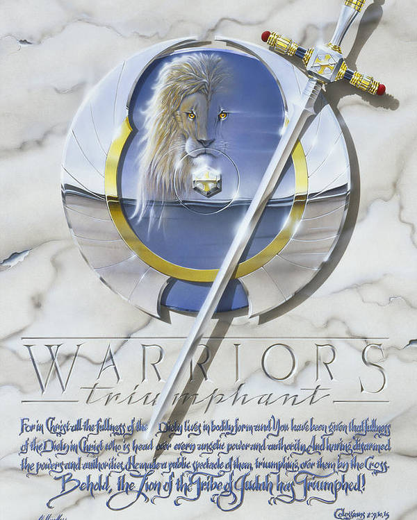 Warriormenboysswordshieldlionwarriorsfightchristianspiritualwarfarecross Poster featuring the painting Warriors Triumphant by Cliff Hawley