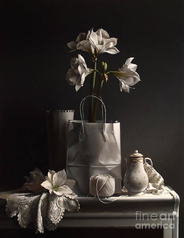 Amaryllis Poster featuring the painting White On White by Lawrence Preston
