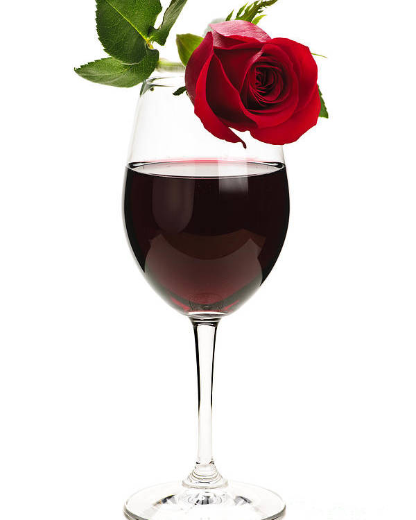 Wine Poster featuring the photograph Wine With Red Rose by Elena Elisseeva
