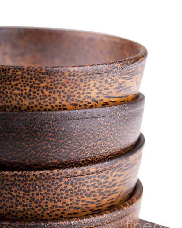 Bowl Poster featuring the photograph Wooden Bowls Isolated by Tim Hester