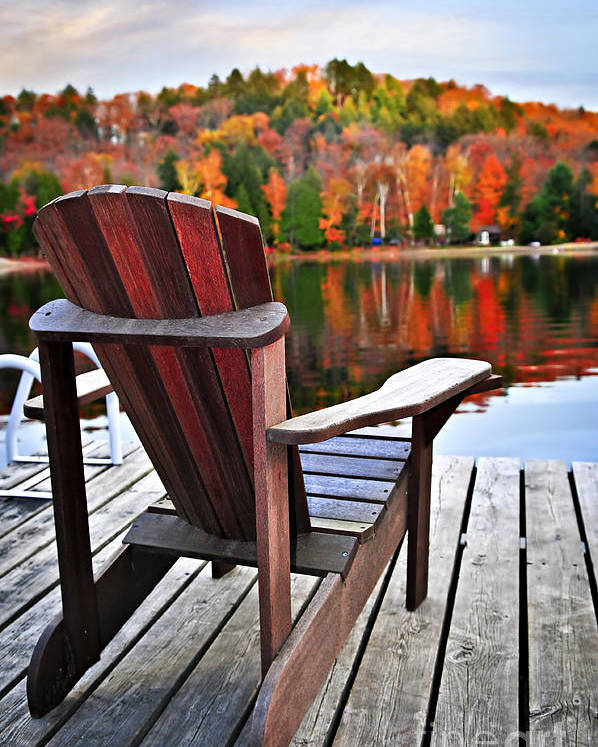 Chair Poster featuring the photograph Wooden Dock On Autumn Lake by Elena Elisseeva