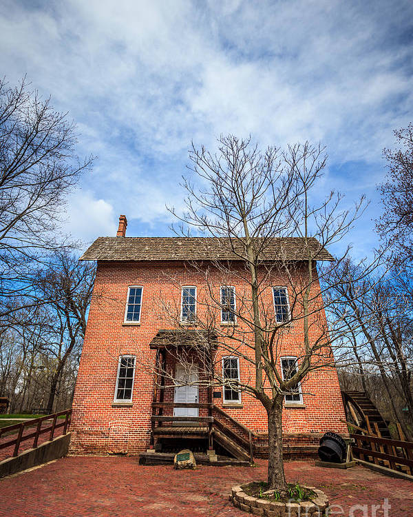 1800's Poster featuring the photograph Wood's Grist Mill In Deep River County Park by Paul Velgos