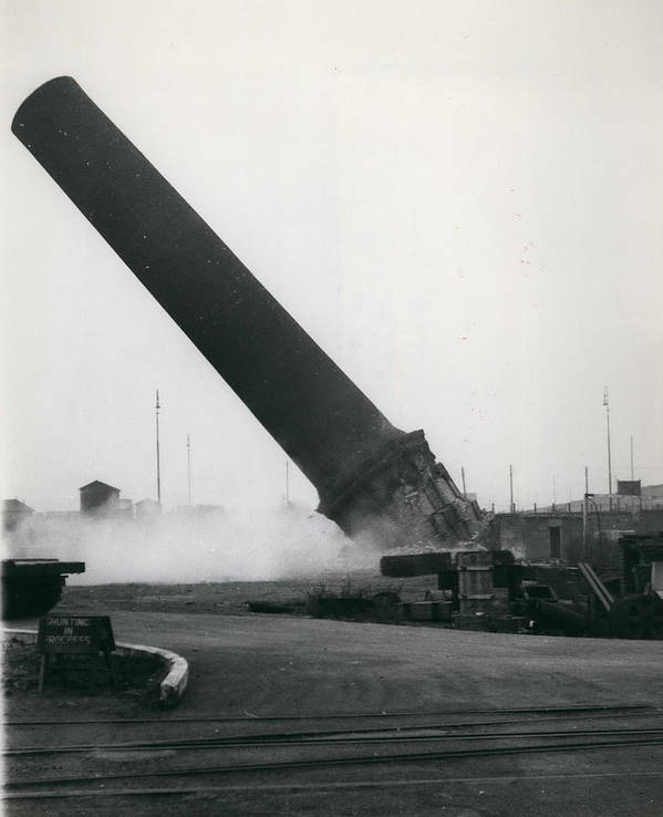 retro Images Archive Poster featuring the photograph 100-foot Chimney Stack Demolished At Silvertown by Retro Images Archive