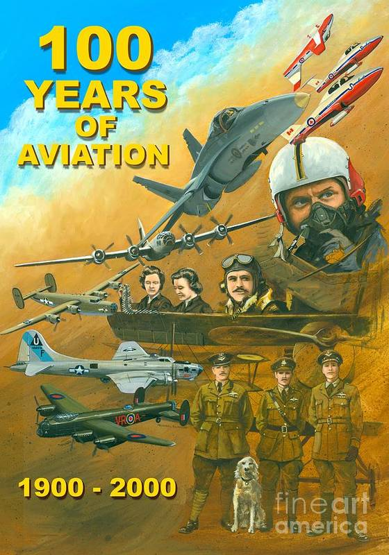 Aviation Poster Poster featuring the painting 100 Years Of Aviation by Michael Swanson