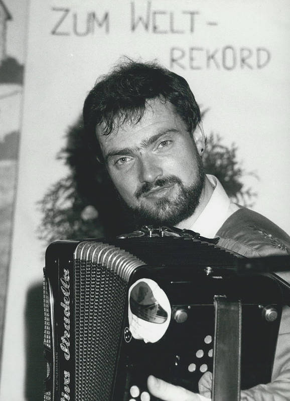 retro Images Archive Poster featuring the photograph 103 Hours Playing On His Accordion by Retro Images Archive