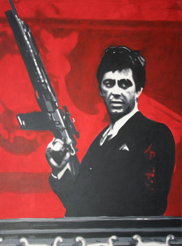 Ludzska Poster featuring the painting Scarface by Luis Ludzska