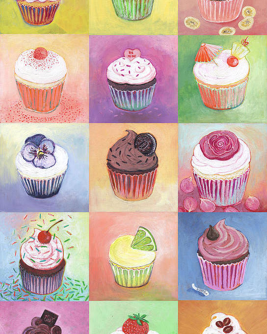 Cupcake Poster featuring the painting 15 Cupcakes by Jennifer Lommers
