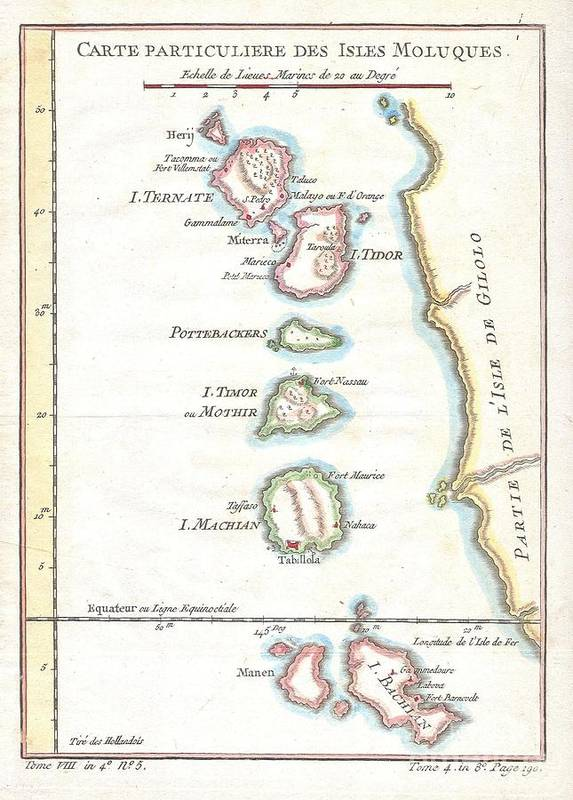 This Beautiful Hand Colored Map Of The Moluques (also Known As The Moluccas Poster featuring the photograph 1760 Bellin Map Of The Moluques by Paul Fearn