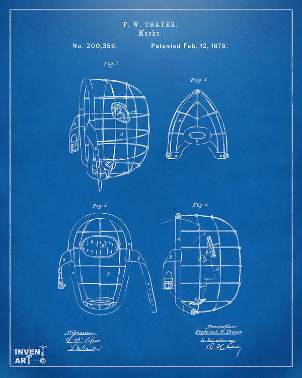Baseball Poster featuring the digital art 1878 Baseball Catchers Mask Patent - Blueprint by Nikki Marie Smith