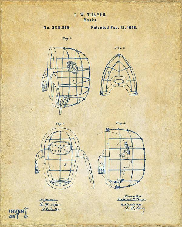 Baseball Poster featuring the drawing 1878 Baseball Catchers Mask Patent - Vintage by Nikki Marie Smith